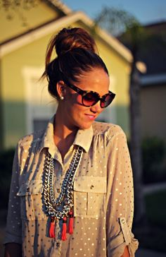 Polka Dot Blouse, Silver and Pink   Tampax Giveaway Winner @Lily Dawson Designs