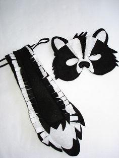 Children's Woodland Animal SKUNK Felt Mask and Tail Set. $28.00, via Etsy.