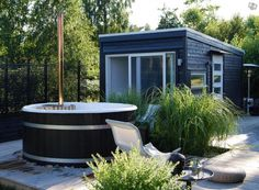 Outdoor Sauna, Outdoor Baths, Small Summer House, Outdoor Spaces, Outdoor Living, Sauna House, Summer Cabins, Garden Studio, Garden Pool
