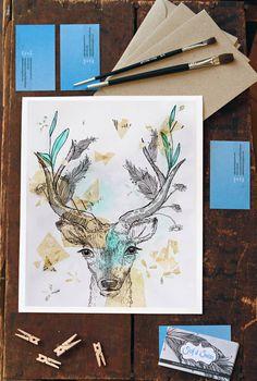 Deer Art Print Antlers Original Watercolor Painting by SailandSwan