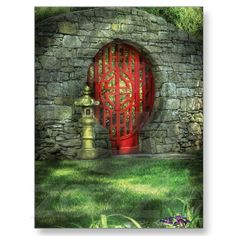 Moon Gate - Red with Stone