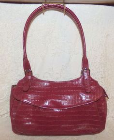 Maxx New York Croco Embossed Leather Purse Shoulder Bag Burgundy #MAXXNewYork #ShoulderBag
