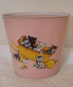 """Vintage pink painted metal tin lithographed """"Kittens in a Wheelbarrow waste basket Vintage Cat, Vintage Decor, Vintage Toys, Toy House, Watering Cans, Vintage Nursery, Painted Metal, Vintage Bathrooms, Tin Toys"""