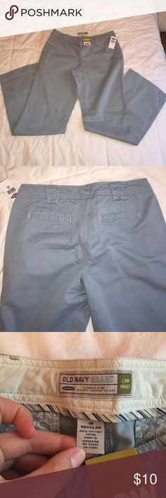 """Old Navy blue cotton pants NWT low waist wide leg cotton pants size 10. 32"""" inseam Old Navy Pants Wide Leg"""