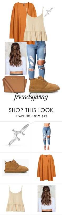 """Friendsgiving"" by zoiegambrel ❤ liked on Polyvore featuring Bling Jewelry, UGG Australia, Topshop, NA-KD and MICHAEL Michael Kors"
