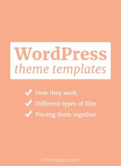 WordPress Theme Templates Work WordPress theme templates: how they work, different types of files, and piecing them together.WordPress theme templates: how they work, different types of files, and piecing them together. Learn Wordpress, Wordpress Plugins, Wordpress Theme, Blog Design, Web Design, Becoming A Blogger, Learning Websites, How To Start A Blog, Helpful Hints