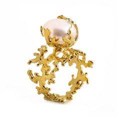 Arosha Luigi Taglia Coral Gold Pearl Ring on shopstyle.com