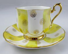 Royal Albert Tea Cup and Saucer with Yellow Stripes, Vintage Bone China