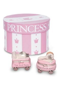 "Baby ""Prince"" and Baby ""Princess"" first tooth and first curl keepsake is a perfect baby shower gift.  Dimensions: 2 1/4"" x 2 1/4""  First Tooth Keepsake Box by Mud Pie. Home & Gifts - Gifts - Gifts by Occasion - Baby & Kids Virginia"