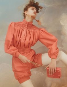 Inside the upcoming issue of Dazed Magazine rising image-maker Charlotte Wales photographs Taylor Hill as a vision of idyllic beauty. Womenswear l Women fashion look outfit coral jumpsuit 80s Fashion, Fashion Shoot, Editorial Fashion, High Fashion, Fashion Beauty, Taylor Hill, Editorial Photography, Fashion Photography, Dazed Magazine
