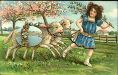 Girl with 2 lambs carrying blue egg With Lambs