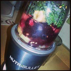 Lunch. Kale,Banana Blueberries, Rasberries  seeds. Yum #nutribullet #nutriblast
