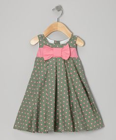 Two great colors on one great dress. Pink and green spots pop off a swing silhouette for a garden-fresh look and feel. 100% cottonHand washImported