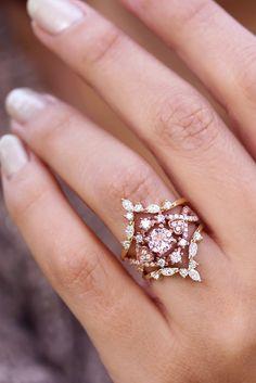 Morganite & Diamond Halo Unique Engagement Rings Set, Morganite Rose Gold Ring, Three Wedding Rings Set, Bridal Rings, Destiny, Hermes ring