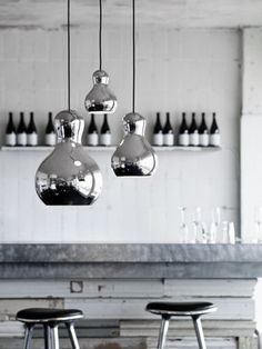 chrome light and stools