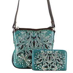 Concealed Carry Gun Purse  Inlaid Messenger Bag w Wallet by Montana West Turquoise *** You can get more details by clicking on the image.