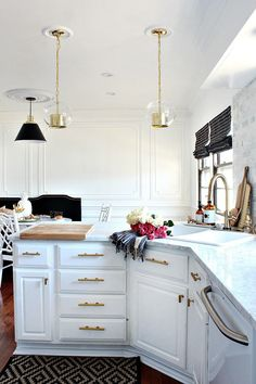Gold, black, marble and glam kitchen makeover reveal via @@gwhkristy