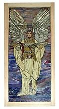 Beautiful Stained Glass Window with Angelic Warrior Motif