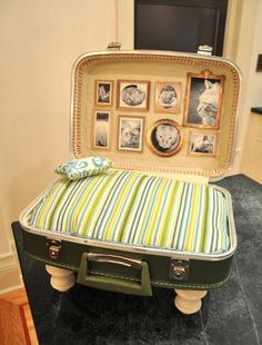 Stefanie of Brooklyn Limestone made this cat bed out of a vintage suitcase. The cat bed is complete with framed cat pictures and a pillow–DIY instructions are on her site.  What a lovely gift for your favourite kitty!