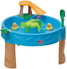 Duck Pond Water Table This fantastic water play table will keep multiple children occupied with splashing fun. The pond-themed table includes 2 decorated Best Water Table, Kids Water Table, Sand And Water Table, Water Tables, Outdoor Toys, Outdoor Play, Outdoor Stuff, Outdoor Ideas, Outdoor Spaces