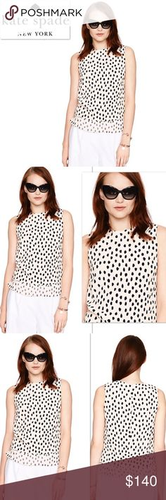 Kate Spade New York Leopard Dot layered tank Absolutely stunning Kate Spade Leopard Dot layered tank.   Upper: 100% Viscose/Lower: 100% Silk.   Lining: 1% Polyester.   Sleeveless, crewneck, side bottom vents, & layered all around.   Fit straight.   Invisible center back & hook, eye zipper closure.  Inner shoulder snaps.  Retails: $228 + Tax  Please no trades or pp.   Follow me on Instagram for giveaways & special deals.  IG: poshmark_molinda25 kate spade Tops Tank Tops