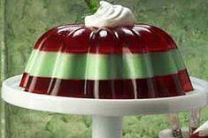 Postre festivo de gelatina rojo y verde receta