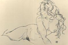 Egon Schiele - Reclining Nude with Raised Torso - 1918