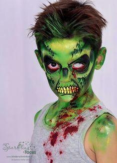 Boy Halloween Makeup, Amazing Halloween Makeup, Halloween Inspo, Zombie Makeup, Halloween Looks, Scary Halloween, Scary Face Paint, Zombie Face Paint, Artistic Make Up