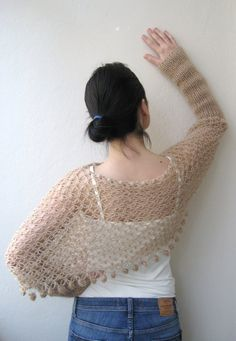 Butterfly Shrug Poncho with long sleeves hand by KnitAndWedding, $99.00