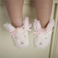 Mud Pie Baby-girls Infant Plush Bunny Slippers