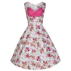 'Ophelia' Romantically Pretty Antique Rose Print Vintage 50's Inspired Swing Dress