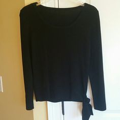 Black long sleeved top Black long sleeved top with tie at bottom. Another work top I loved. Tops Blouses