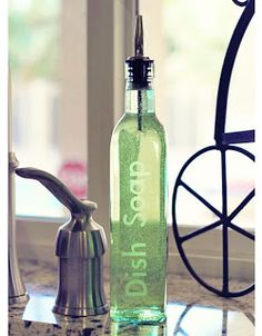 Etched Dish Soap Bottle... except I would use the fake etch spray instead. Great gifting idea!