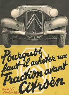 Car Posters, Poster Ads, Vintage Motorcycles, Cars And Motorcycles, Green Label, Art Deco Car, Citroen Traction, Traction Avant, Classic Cars