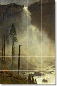 Albert Bierstadt Waterfalls Floor Tile Mural 27   17x25.5 using (24) 4.25x4.25 tiles by Picture-Tiles. $180.00. YOUR Mural Can Be Designed To Any Size   Using Your Photos Or Ours   Contact Us For A Quote. MURAL SIZE: 17x25.5 Inches Using (24) 4.25x4.25 Ceramic Tiles-Satin Finish. COMMON USES: Kitchen Back Splash Tile   Bathroom Shower Tile   Accent/Decor   Any Indoor Wall. TILES: Commercial Grade Indoor Ceramic Wall Tiles-Satin Finish. PRICING: Ceramic Wall Grade...
