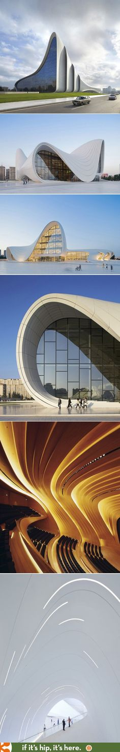 Zaha Hadid\'s Heydar Aliyev Centre wins 2014 Design Of The Year. With the alluring curves of the building and the interesting perspectives its wonder to how architecture keeps changing and becoming more complex. #architecture #curves #lighting