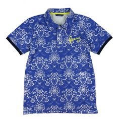 Boys Blue Polo Shirt with White Floral Print. Now available at www.chocolateclothing.co.uk