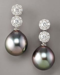 Assael Diamond & Pearl Drop Earrings Look at the reflection on these pearls, stunning.