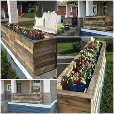 Pallet Outdoor Furniture Some Simple Ideas on How to Craft DIY Planter Boxes - Diy Craft Ideas Diy Pergola, Pallet Pergola, Wood Pallet Planters, Diy Planter Box, Diy Planters, Pallet Boxes, Wooden Planter Boxes, Pergola Roof, Outdoor Furniture Plans