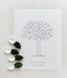 different shades of green for a very sweet keepsake  free thumbprint guestbook