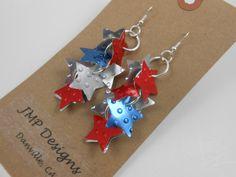 RED WHITE BLUE Earrings. Recycled Soda Can Art. Coca by jillmccp, $9.95