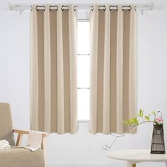 Beige Deconovo Solid Grommet Curtains Blackout Panels Thermal Insulated Room Darkening Curtains