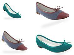 20 platte schoenen voor de lente Repetto ballerina's (groen: 180 euro, grijs & blush: 195 euro)