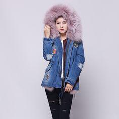 Winter Coat Women Long Fur Jacket 2016 Ladies Real Fox Fur Lined Denim Jeans Parka Winter Fur Lines Female Hooded Overcoat