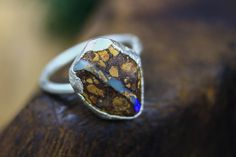 Boulder Opal Engagement Ring in Silver I Types Of Crystals, Types Of Opals, Alternative Engagement Rings, Blue Opal, Modern Bohemian, Semi Precious Gemstones, Wedding Themes, Crystal Healing, Boho Wedding