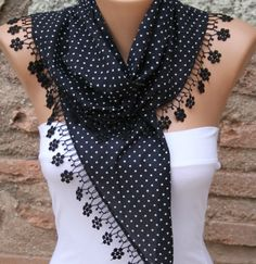 Polka dot  Scarf   Headband Necklace Cowl with  Lace by fatwoman, $13.50