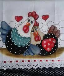 Resultado de imagem para pintura em tecido galinhas