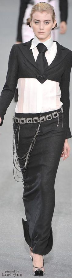 CHANEL - love the tie! I think this style would be much more flattering on an hour-glass figure.