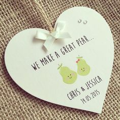 Handmade Personalised Wooden Wedding/Engagement Gift Plaque/Sign Keepsake PEAR