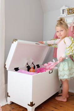 """Our Vintage Farmhouse: """"We had the best time updating little Harper's bedroom!! Storage to the rescue!! These campaign toy boxes are everything! """""""